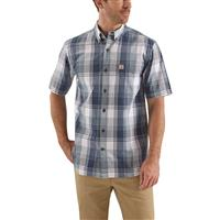 Carhartt Men's Essential Short Sleeve Plaid Shirt, Dark Blue