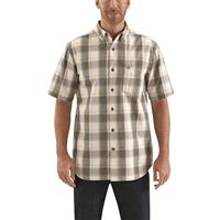 Carhartt Men's Essential Short Sleeve Plaid Shirt, Gravel