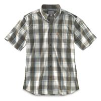 Carhartt Men's Essential Short Sleeve Plaid Shirt, Olive