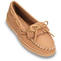 Women's Minnetonka Moccasins Moosehide Moc with Fringed Kilty, Natural