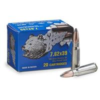 Silver Bear, 7.62x39mm, SP, 125 Grain, Case of 500 Rounds