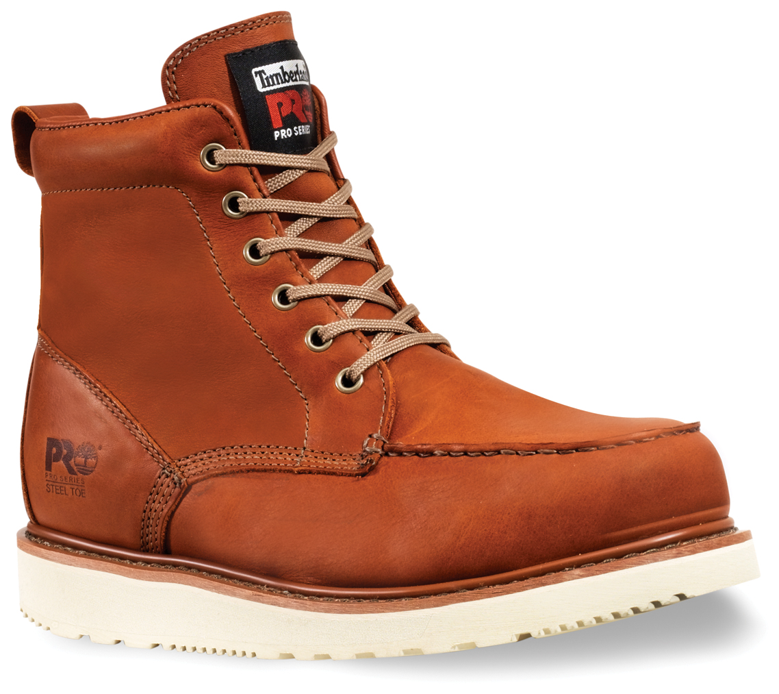 Men's Timberland® Pro® 6 inch Steel Toe Wedge Sole Boots, Rust