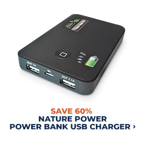 Save 60% Nature Power Power Bank USB Charger