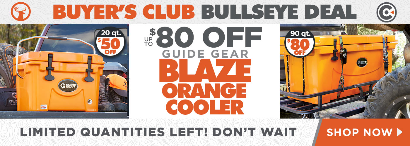 BUYER'S CLUB BULLSEYE DEALS  - UP TO $80 OFF GUIDE GEAR BLAZE ORANGE COOLER | LIMITED QUANITIED LEFT! DON'T WAIT - SHOP NOW