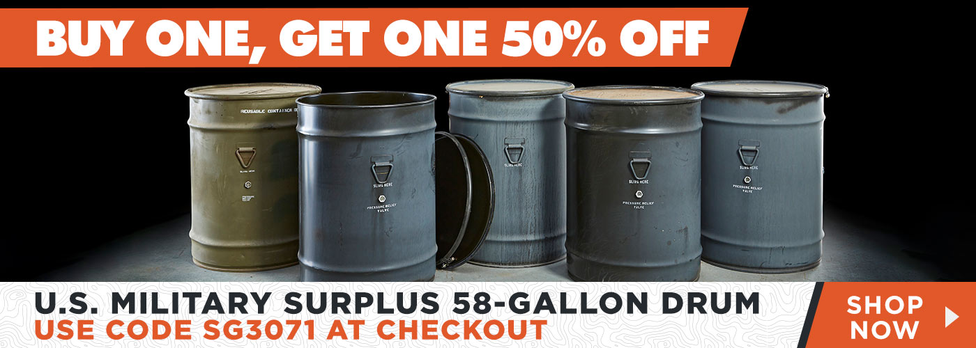 U.S. Military Surplus 58-Gallon Drum, Buy One, Get One 50% Off Using Code SG3071 at Checkout - Shop Now