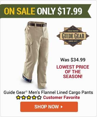 Men's Cargo Pants, Flannel Lined