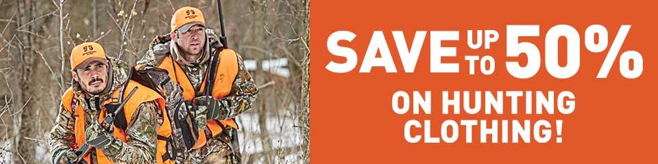 SAVE UP TO 50% on Hunting Clothing